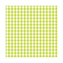 20 Servietten, 3-lagig 1/4-Falz 25 cm x 25 cm limonengrün -Vichy-