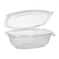50 Verpackungsbecher mit Klappdeckeln, PLA -pure- 1 l 7,6 cm x 20,5 cm x 16,8 cm glasklar