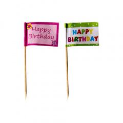 20 Deko-Picker 8 cm -Happy Birthday-