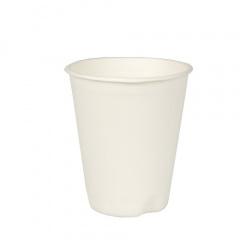 40 Trinkbecher, Zuckerrohr -pure- 0,2 l Ø 8 cm 9,2 cm weiss für Heißgetränke