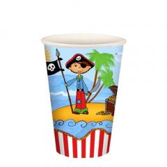 10 Trinkbecher, Pappe 0,2 l Ø 7 cm 9,7 cm -Pirate Island-