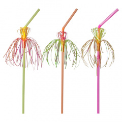 50 Trinkhalme, flexibel Ø 5 mm 24 cm neon -Flower-