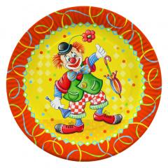 100 Teller, Pappe rund Ø 23 cm -Clown-