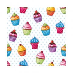 20 Servietten, 3-lagig 1/4-Falz 25 cm x 25 cm Cupcakes