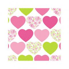 20 Servietten, 3-lagig 1/4-Falz 25 cm x 25 cm Sweetheart