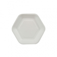 50 Fingerfood - Teller, Zuckerrohr pure 13 cm x 11,2 cm weiss Hexagon