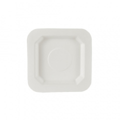 50 Fingerfood - Teller, Zuckerrohr pure eckig 13 cm x 13 cm weiss