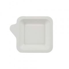 50 Fingerfood - Teller, Zuckerrohr pure eckig 11,3 cm x 11,3 cm weiss mit Anfasser