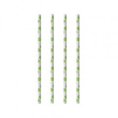 100 Trinkhalme, Papier Ø 6 mm · 20 cm green Dots