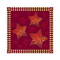 20 Servietten, 3-lagig 1/4-Falz 25 cm x 25 cm rot Sparkling Stars