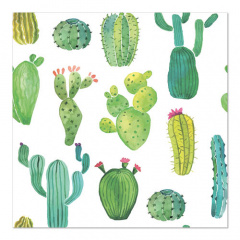 20 Servietten, 3-lagig 1/4-Falz 33 cm x 33 cm Kaktus