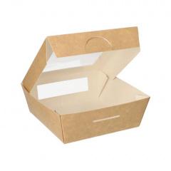 25 Feinkostboxen, Pappe mit Sichtfenster aus PLA eckig 750 ml 14 cm x 14 cm x 5 cm braun