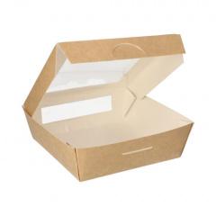 25 Feinkostboxen, Pappe mit Sichtfenster aus PLA eckig 1000 ml 16 cm x 16 cm x 5 cm braun
