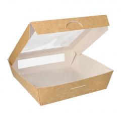 25 Feinkostboxen, Pappe mit Sichtfenster aus PLA eckig 1500 ml 19 cm x 19 cm x 5 cm braun
