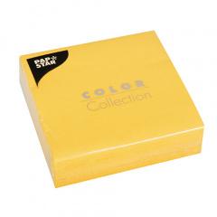 50 Servietten, 3-lagig 1/4-Falz 33 cm x 33 cm gelb