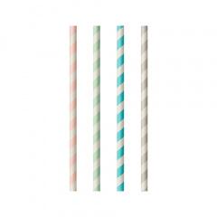 100 Trinkhalme, Papier Ø 6 mm · 20 cm farbig sortiert Stripes