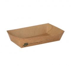 80 Snacktrays, Pappe pure 3,5 cm x 8,5 cm x 15,5 cm braun 100% Fair groß