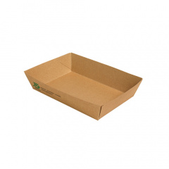 80 Snacktrays, Pappe pure 4 cm x 11 cm x 16 cm braun 100% Fair extra groß