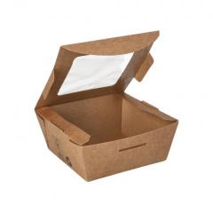 40 Feinkostboxen, Pappe mit Sichtfenster aus PLA pure eckig 350 ml 4,5 cm x 9 cm x 9 cm braun 100% Fair