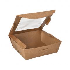 40 Feinkostboxen, Pappe mit Sichtfenster aus PLA eckig 650 ml 4,5 cm x 12 cm x 12 cm braun 100% Fair