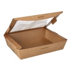 40 Feinkostboxen, Pappe mit Sichtfenster aus PLA pure eckig 1000 ml 4,5 cm x 18 cm x 13 cm braun 100% Fair