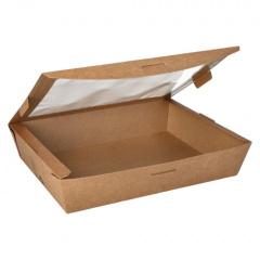 40 Feinkostboxen, Pappe mit Sichtfenster aus PLA pure eckig 1500 ml 4,5 cm x 21 cm x 16 cm braun 100% Fair