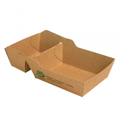 80 Pommes-Frites-Trays, Pappe pure 2-geteilt 3,5 cm x 7 cm x 9 cm braun 100% Fair klein