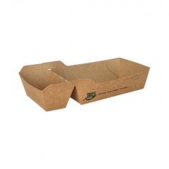 80 Pommes-Frites-Trays, Pappe pure 2-geteilt 3,5 cm x 7 cm x 12 cm braun 100% Fair mittel