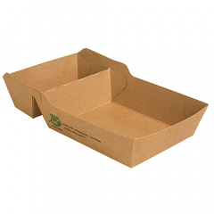 80 Pommes-Frites-Trays, Pappe pure 2-geteilt 3,8 cm x 8,5 cm x 15,5 cm braun 100% Fair extra groß