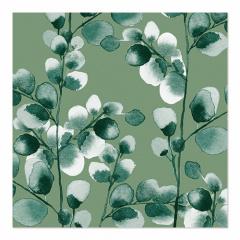 20 Servietten, 3-lagig 1/4-Falz 33 cm x 33 cm Eucalyptus