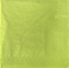 20 Servietten, 3-lagig 1/4-Falz 33 cm x 33 cm limonengrün