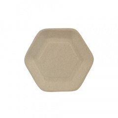 50 Fingerfood - Teller, Zuckerrohr pure 13 cm x 11,2 cm natur Hexagon