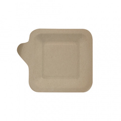 50 Fingerfood - Teller, Zuckerrohr pure eckig 11,3 cm x 11,3 cm natur mit Anfasser