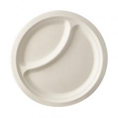 50 Teller, Zuckerrohr pure 2-geteilt Ø 23 cm · 2 cm weiss