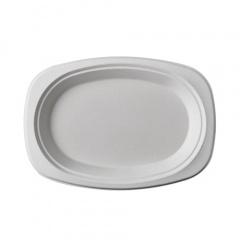50 Teller, Zuckerrohr pure oval 23 cm x 16 cm x 2 cm weiss
