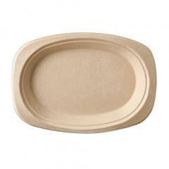 50 Teller, Zuckerrohr pure oval 23 cm x 16 cm x 2 cm natur