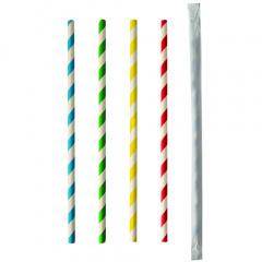100 Trinkhalme, Papier Ø 6 mm · 20 cm farbig sortiert Stripes einzeln gehüllt