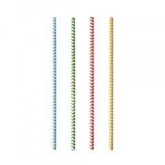 100 Trinkhalme, Papier Ø 6 mm · 20 cm farbig sortiert Zig-Zag