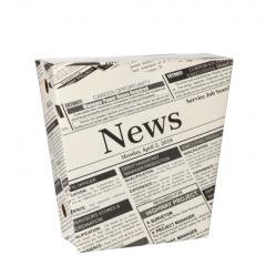 50 Pommes-Frites-Schütte, Pappe 4,3 cm x 14,5 cm x 11 cm Newsprint mit Klappdeckel