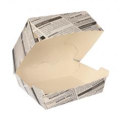 50 Burgerboxen, Pappe 7 cm x 11 cm x 11,5 cm Newsprint groß