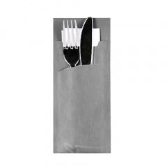 520 Bestecktaschen 20 cm x 8,5 cm grau inkl. weißer Serviette 33 x 33 cm 2-lag.