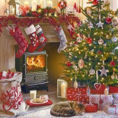 20 Servietten, 3-lagig 1/4-Falz 33 cm x 33 cm Fireplace and Tree
