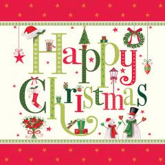 20 Servietten, 3-lagig 1/4-Falz 33 cm x 33 cm Happy Christmas