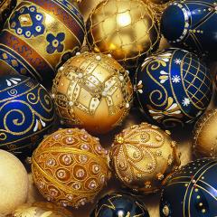 20 Servietten, 3-lagig 1/4-Falz 33 cm x 33 cm Balls blue-gold