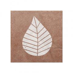 20 Servietten, 3-lagig 1/4-Falz 25 cm x 25 cm natur Graphic Leaves