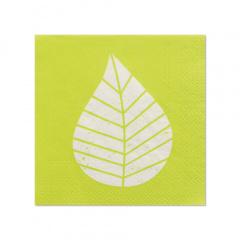 20 Servietten, 3-lagig 1/4-Falz 25 cm x 25 cm grün Graphic Leaves