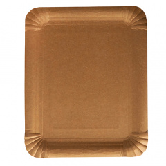 250 Teller, Pappe pure eckig 16,5 cm x 20 cm braun