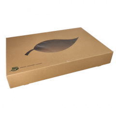 10 Transport- und Catering-Kartons, Pappe pure 8 cm x 55,7 cm x 37,6 cm braun 100% Fair mit Sichtfenster aus PLA