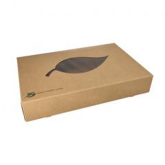 10 Transport- und Catering-Kartons, Pappe pure 8 cm x 46,4 cm x 31,3 cm braun 100% Fair mit Sichtfenster aus PLA
