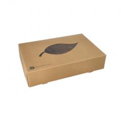 10 Transport- und Catering-Kartons, Pappe pure 8 cm x 35,7 cm x 24,7 cm braun 100% Fair mit Sichtfenster aus PLA